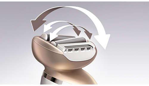 Kahdella teräverkolla varustettu Multiflex-pää ei jätä karvoja ajamatta
