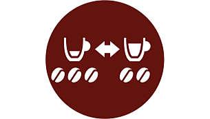 Voor meer keuze schakelt u eenvoudig tussen 2 verschillende koffievarianten
