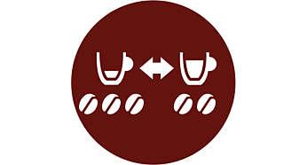 Plus de choix: basculez facilement entre les 2options de café