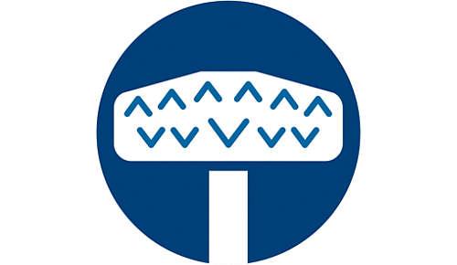 Z-vormige luchtkanalen voorkomen dat het mondstuk vuil vooruit duwt