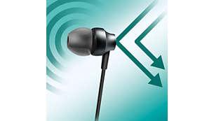 Perfekcyjne wypełnienie wnętrza ucha zapewnia skuteczne tłumienie szumów z zewnątrz