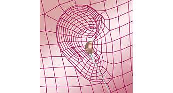 Dėl ovalaus garso vamzdelio įdėklo patogiai priglunda