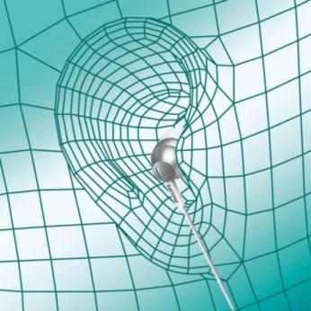 Вложка с форма на овална звукова тръба предоставя ергономично удобно прилягане