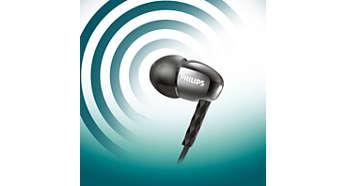 Potężne głośniki odtwarzają czysty dźwięk z mocnym brzmieniem basów