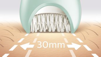 Najszersza głowica depilująca pozwala usunąć maksymalną ilość włosków jednym ruchem