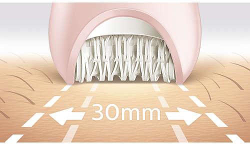 Det bredeste epileringshoved til optimal hårfjernelse i én bevægelse