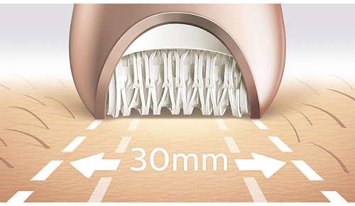 Breiter Epilierkopf für optimale Haarentfernung in einem Zug