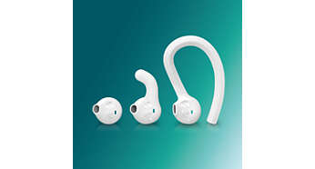 Personalise your fit with ear hook, fin or earbud styles