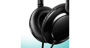 Soft ear cushions allow for long-wearing comfort