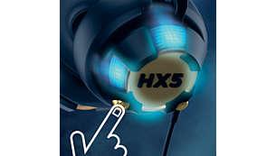 Kontrollera musikens synlighet med LED-knappen