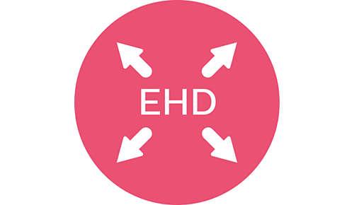 Mniej przegrzewania dzięki funkcji równomiernego rozprowadzania ciepła (EHD)