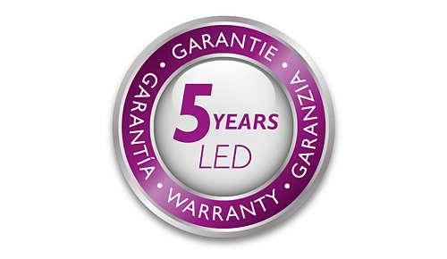 Philips erbjuder 5 års garanti på LED-modulen och driftdonet