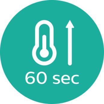 Бързо загряване, готовност за ползване след 60 секунди.