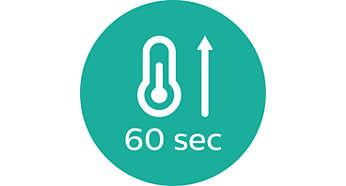 Hurtig opvarmningstid. Klar til brug på kun 60 sekunder