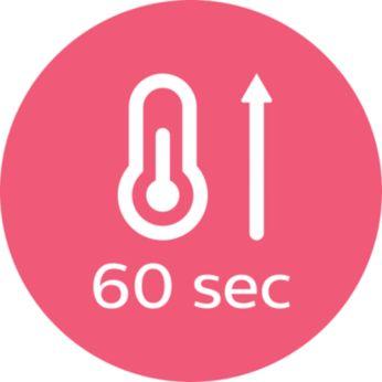 Быстрый нагрев, готовность к использованию через 60секунд