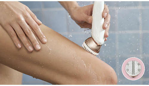 Body exfoliator brush removes dead skin cells