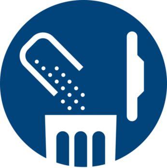 Bezsáčkový: jednorázové vyprazdňování nádoby na prach, jednoduché a hygienické
