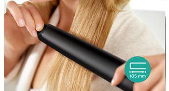 Bardzo długie płytki (105mm) umożliwiają szybkie i łatwe prostowanie