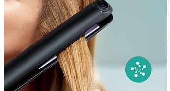 Pielęgnacja jonowa zapewnia gładkie, pełne blasku i nieelektryzujące się włosy
