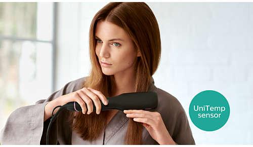 Capteur UniTemp pour des cheveux parfaitement lissés à une chaleur réduite