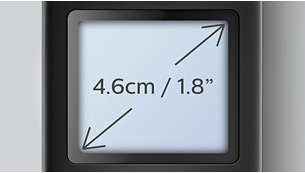 "Easy to read 4.6 cm (1.8"") display with white backlight"
