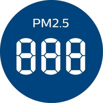Отображение в реальном времени информации о содержании частиц класса PM2.5 и 4-цветный индикатор качества воздуха