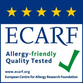 ได้รับการทดสอบ และรับรองประสิทธิภาพโดย AHAM(สมาคมผู้ผลิตเครื่องใช้ไฟฟ้า สหรัฐอเมริกา), ECARF(สถาบันโรคภูมิแพ้ยุโรป) และ Airmid (สถาบันวิจัยอิสระ)