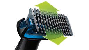 Подстригва космите във всяка посока с 3-милиметровия гребен