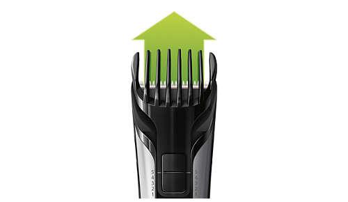 Il pettine regolabile incluso taglia i peli da 3 a 11 mm
