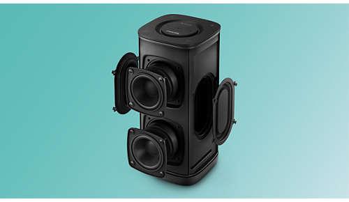 Dubbele luidsprekerdrivers en passieve radiatoren voor meeslepend geluid