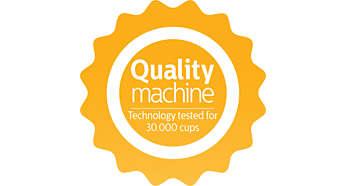 Apparaat is getest voor meer dan 30.000 kopjes om een consistente kwaliteit te garanderen