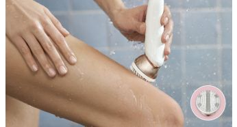 Body exfoliation brush removes dead skin cells - PHILIPS S-shaped Satinelle Advanced Epilator