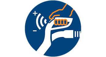 ErgoGrip-fjärrkontroll i handtaget med inbyggda styrknappar