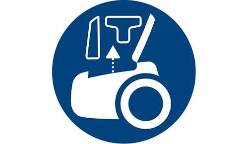 Integriertes Zubehör für eine schnelle und gründliche Reinigung