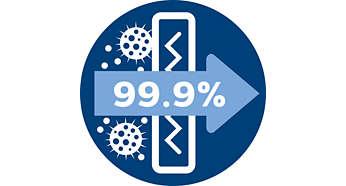 Het allergiefilter houdt >99,9 % van de deeltjes tegen, ECARF-gecertificeerd