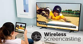 Refleja de forma inalámbrica la pantalla dispositivos inteligentes en tu televisor