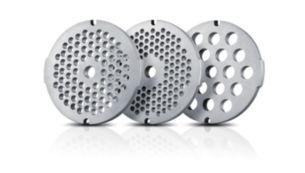 3гігієнічні подрібнюючі диски з нержавіючої сталі (3мм, 5мм та 8мм)