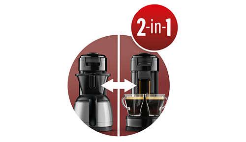 Technologie 2en1 pour préparer du café filtre et dosette avec la même machine