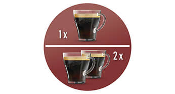 1 oder 2Tassen SENSEO®-Kaffee in weniger als einer Minute