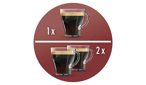 Une ou deux tasses de café SENSEO® en moins d'une minute