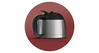 Thermo-Kanne aus Edelstahl für eine heiße Tasse Filterkaffee