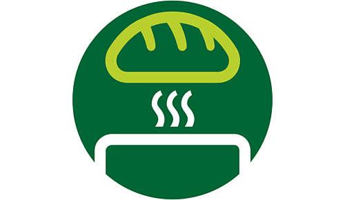 Ingebouwde opzethouder voor het opwarmen van broodjes of gebak