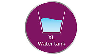 XL water tank for carefree steaming without refill