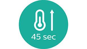 Snelle opwarmtijd, binnen 45 seconden klaar voor gebruik