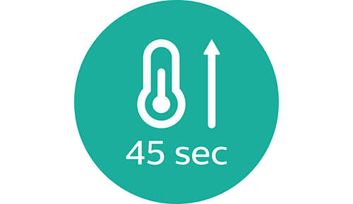 Lämpenee käyttövalmiiksi 45 sekunnissa
