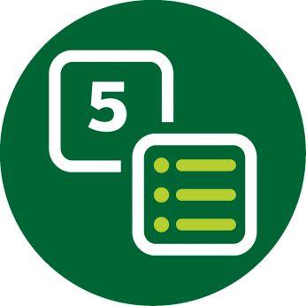 Eenvoudige gebruikersinterface met 5 standaardinstellingen.
