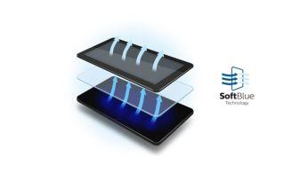 La tecnología SoftBlue es más agradable a la vista y mantiene el color