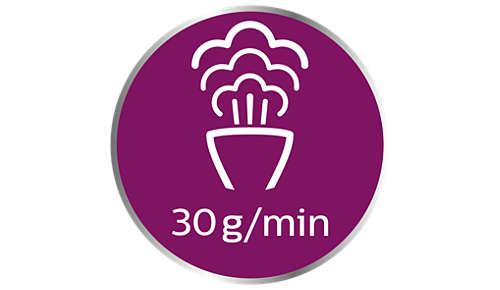Krachtigere stoom tot 30g/min. voor snellere resultaten