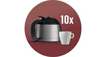 Verseuse isotherme en acier inoxydable pour 10tasses de café filtre
