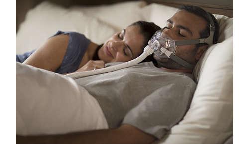 Le masque naso-buccal le plus compact* et le plus léger** du marché